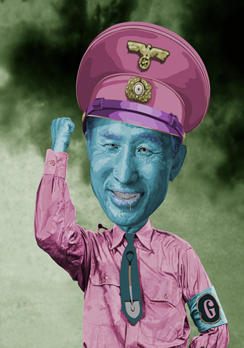 Lee Ha, pretty dictator series -이명박, mixed media, 160x120cm, 2012