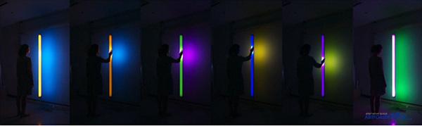 1. HYBE_Light Tree Interactive Dan Flavin (v.2), 베이스 직경 36cm, 높이 210cm, 풀컬러 LED, IR 센서, 아크릴, 레드 파인, 7분 20초, 2014